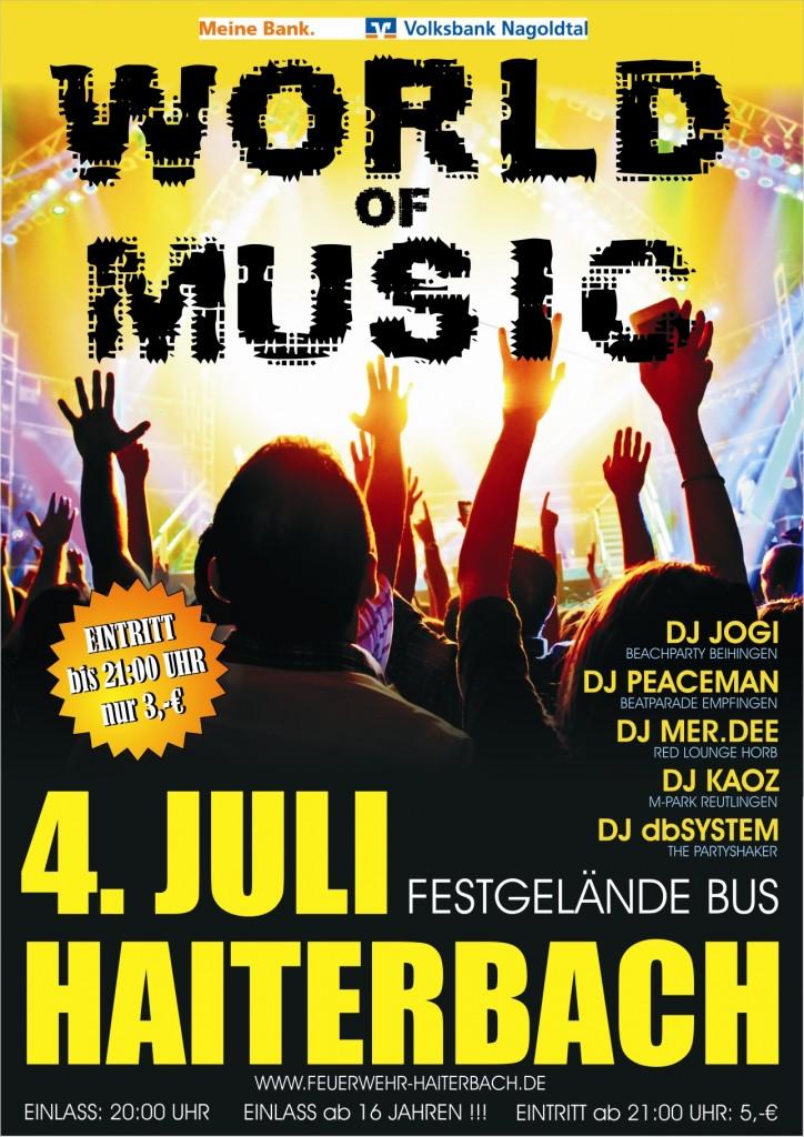 World of Music Haiterbach Schaumparty gogos jogi Peaceman db system kaoz